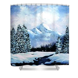 Winter Mountains Shower Curtain by Phyllis Kaltenbach