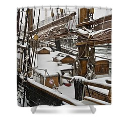 Winter On Deck Shower Curtain by Heiko Koehrer-Wagner