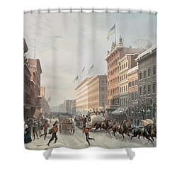 Winter Scene On Broadway Shower Curtain by American School