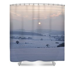 Winter Sunrise Westerwald Shower Curtain by Peter Zoeller