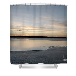 Shower Curtain featuring the photograph Winter Sunset Over Lake by Art Whitton