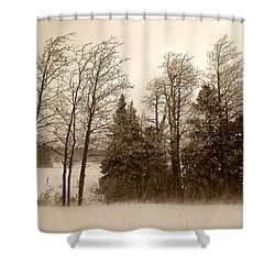 Shower Curtain featuring the photograph Winter Treeline by Hugh Smith