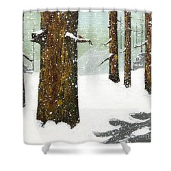 Wintering Pines Shower Curtain