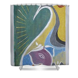 Shower Curtain featuring the painting Wisdom And Peace by Sonali Gangane