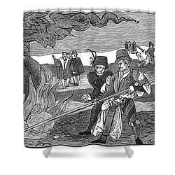 Witch Burning, 1555 Shower Curtain by Granger