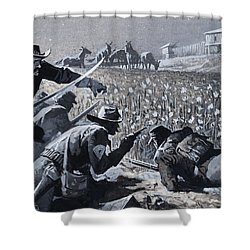 With His Men Concealed Fetterman Waited For The Marauding Indians Shower Curtain by Severino Baraldi