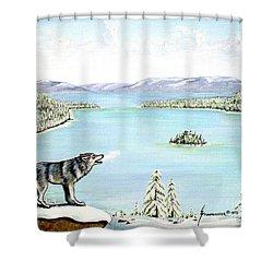 Wolf At Lake Tahoe Shower Curtain by Jerome Stumphauzer
