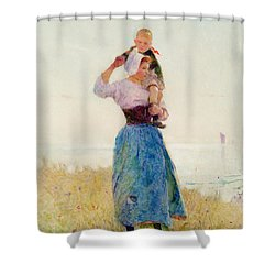Woman And Child In A Meadow Shower Curtain by Hector Caffieri