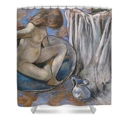 Woman In The Tub Shower Curtain by Edgar Degas