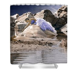 Woman On A Rock Shower Curtain by Joana Kruse