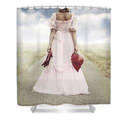 Woman On A Street Shower Curtain by Joana Kruse