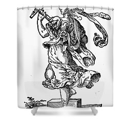 Woman Playing The Lute Shower Curtain by Granger