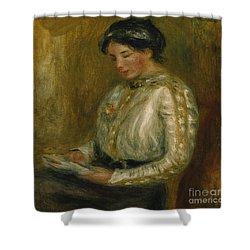 Woman Reading  Shower Curtain by Pierre Auguste Renoir