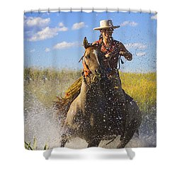 Woman Riding A Horse Shower Curtain by Richard Wear