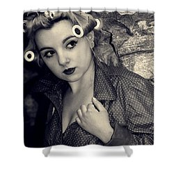 Woman Wearing Curlers And A Raincoat Shower Curtain by Joana Kruse