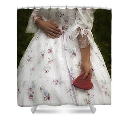 Woman With A Heart Shower Curtain by Joana Kruse