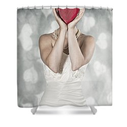 Woman With Heart Shower Curtain by Joana Kruse