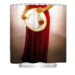 Woman With Straw Hat Shower Curtain by Joana Kruse