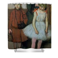 Woman With Two Little Girls Shower Curtain by Edgar Degas