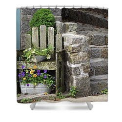 Wood And Granite Shower Curtain