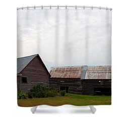 Shower Curtain featuring the photograph Wood And Log Sheds by Barbara McMahon