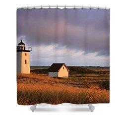 Wood End Lighthouse Landscape Shower Curtain by Roupen  Baker