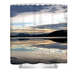 Wood Lake Mirror Image Shower Curtain by Will Borden