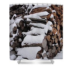 Shower Curtain featuring the photograph Wood Pile by Tiffany Erdman