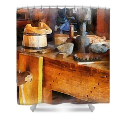 Wood Shop With Wooden Bucket Shower Curtain by Susan Savad