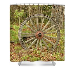 Shower Curtain featuring the photograph Wood Spoked Wheel by Sherman Perry