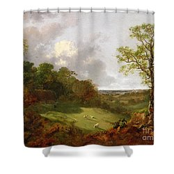 Wooded Landscape With A Cottage - Sheep And A Reclining Shepherd Shower Curtain by Thomas Gainsborough