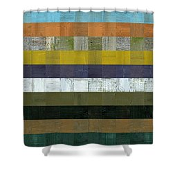 Wooden Abstract L Shower Curtain by Michelle Calkins