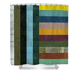 Wooden Abstract Vl  Shower Curtain by Michelle Calkins