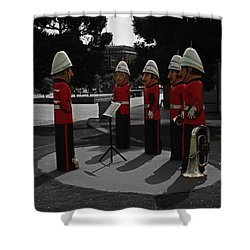 Shower Curtain featuring the photograph Wooden Bandsmen by Blair Stuart