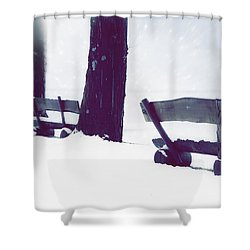 Wooden Benches In Snow Shower Curtain by Joana Kruse