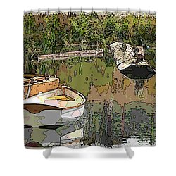 Wooden Boat Placid Shower Curtain by Tim Allen