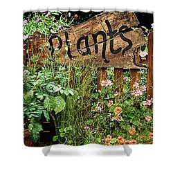 Wooden Plant Sign In Flowers Shower Curtain