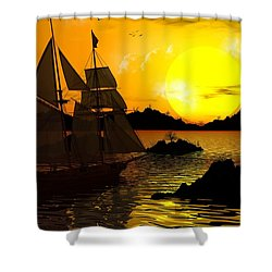 Wooden Ships Shower Curtain