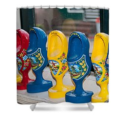 Shower Curtain featuring the digital art Wooden Shoes by Carol Ailles