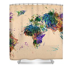 World Map 2 Shower Curtain by Mark Ashkenazi