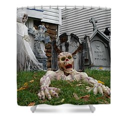 Worms Eye View Of Terror Shower Curtain by Richard Bryce and Family