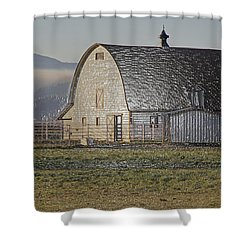 Wrapped Barn Shower Curtain by Mick Anderson