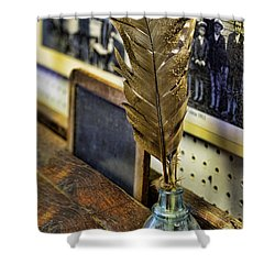 Writer - Quill And Ink Shower Curtain by Paul Ward