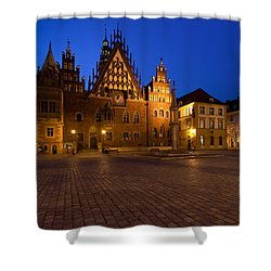 Wroclaw Town Hall At Night Shower Curtain