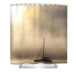 Yacht In Mist Shower Curtain by Avalon Fine Art Photography