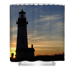 Yaquina Lighthouse Shower Curtain by Bob Christopher