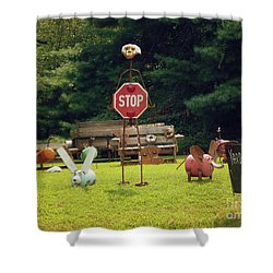 Shower Curtain featuring the photograph Yard Art Stop by Renee Trenholm