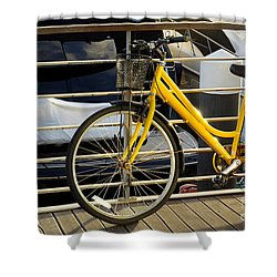 Yellow Bicycle Shower Curtain by Carlos Caetano