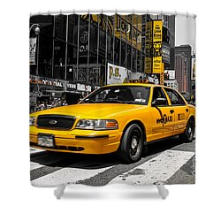 Yellow Cab At The  Times Square Shower Curtain by Hannes Cmarits