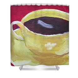 Yellow Cup On Red Shower Curtain